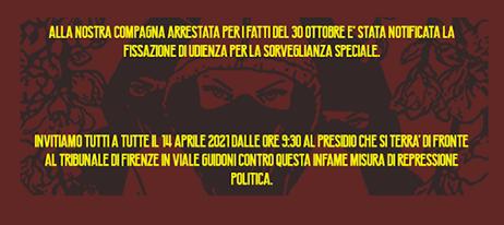 PRESIDIO CONTRO LA SORVEGLIANZA SPECIALE 14/04/21, ore 9.30, Tribunale di Firenze